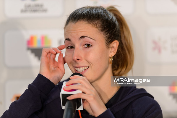 10.04.2015 - Katowice , Spodek , Katowice Open  N/Z Konferencja Alize Cornet  Fot. Mariusz Palczynski / MPAimages.com
