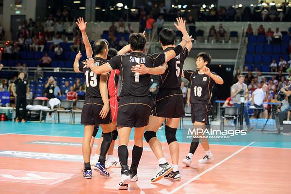 23.08.2015 - Torun , Torun Arena , siatkowka , XIII Memorial Huberta Wagnera, Japonia (czarne) - Francja (czerwone) N/Z Japonia Fot. Karol Bartnik / MPAimages.com
