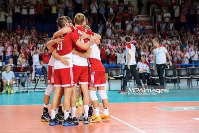 23.08.2015 - Torun , Torun Arena , siatkowka , XIII Memorial Huberta Wagnera, Polska (czerwone) - Iran (biale) N/Z Polska Fot. Karol Bartnik / MPAimages.com