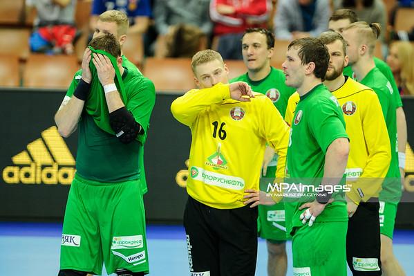 15.01.2016 - Katowice , Spodek , pilka reczna , EHF Euro 2016 , Chorwacja  (niebieskie) - Bialorus (zielone)  N/Z Bialorus Fot. Karol Bartnik / MPAimages.com