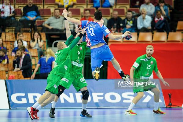 15.01.2016 - Katowice , Spodek , pilka reczna , EHF Euro 2016 , Chorwacja  (niebieskie) - Bialorus (zielone)  N/Z Ivan Sliskovic Fot. Karol Bartnik / MPAimages.com