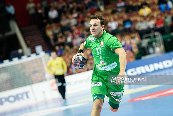 15.01.2016 - Katowice , Spodek , pilka reczna , EHF Euro 2016 , Chorwacja  (niebieskie) - Bialorus (zielone)  N/Z Dzmitry Nikulenkau Fot. Karol Bartnik / MPAimages.com