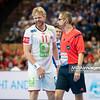 15.01.2015 - Katowice , Spodek , pilka reczna , EHF Euro 2016 , Islandia (niebieskie) - Norwegia (biale)  N/Z Erlend Mamelund Fot. Karol Bartnik / MPAimages.com