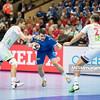 15.01.2015 - Katowice , Spodek , pilka reczna , EHF Euro 2016 , Islandia (niebieskie) - Norwegia (biale)  N/Z Norwegia , Islandia Fot. Karol Bartnik / MPAimages.com