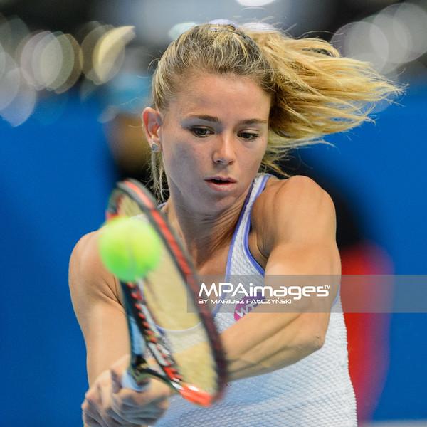 06.04.2016 - Katowice , Spodek , Katowice Open , Camila Giorgi (ITA) - Ekaterina Alexandrova (RUS)  N/Z Camila Giorgi  Fot. Mariusz Palczynski / MPAimages.com