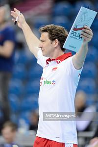 18.05.2016 - Krakow , Tauron Krakow Arena , siatkowka , XIV Memorial Huberta Jerzego Wagnera 2016 , Polska (czerwone) - Belgia (czarne) , Poland (red) - Belgium (black)  N/Z Stephane Antiga  Fot. Mariusz Palczynski / MPAimages.com