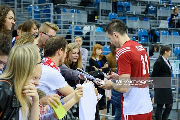18.05.2016 - Krakow , Tauron Krakow Arena , siatkowka , XIV Memorial Huberta Jerzego Wagnera 2016 , Polska (czerwone) - Belgia (czarne) , Poland (red) - Belgium (black)  N/Z Rafal Buszek  Fot. Karol Bartnik / MPAimages.com