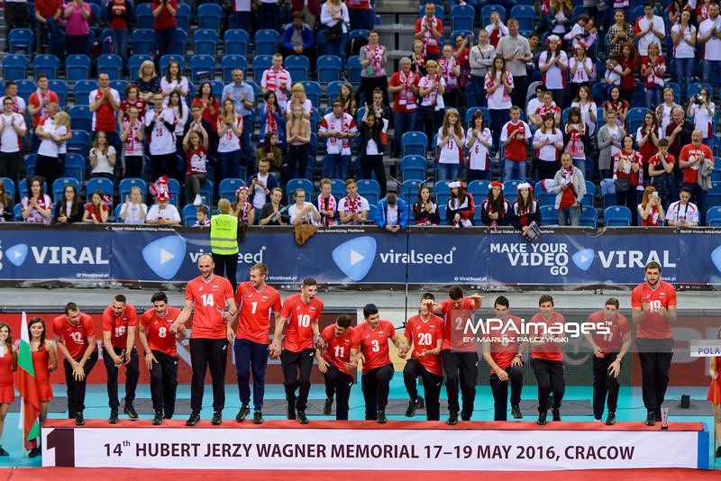 19.05.2016 - Krakow , Tauron Krakow Arena , siatkowka , XIV Memorial Huberta Jerzego Wagnera 2016 , Dekoracja  N/Z Reprezentacja Bulgarii  Fot. Mariusz Palczynski / MPAimages.com