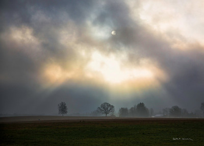 Morning fog and sun, Hadley, Massachusetts