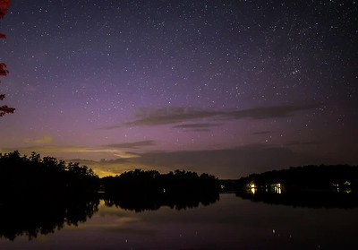 Star-cloud tracks looking north over Damariscotta Lake, Maine