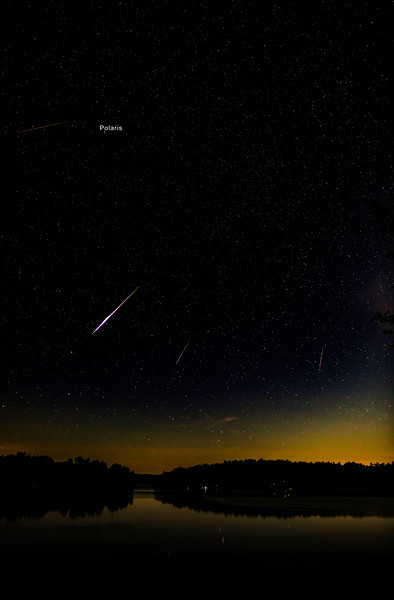 Perseid meteor streaks, August 14, 2017