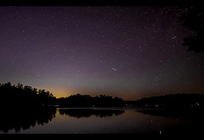 Star tracks, looking north over Damariscotta Lake, Maine