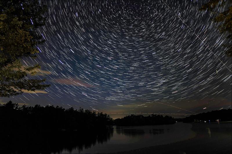 STAR TRAILS OVER DAMARISCOTTA LAKE