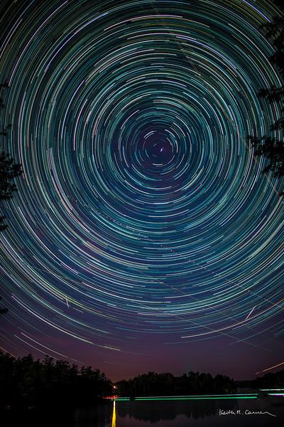 Star trails above Damariscotta Lake