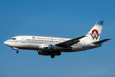 America West, N189AW, Boeing 737-277Adv, msn 22656, Photo by Wildfred C Wann Jr, LAX, Image J013LAWW