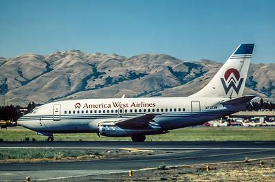 America West, N702AW, Boeing 737-130, msn 19015, Photo by AP Cardadeiro, SJC, Image J014LGAC