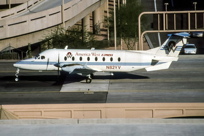 America West Express, N82YV, Beech 1900D, msn UE-82, Photo by Brian Peters, PHX, Image LL001LGBP