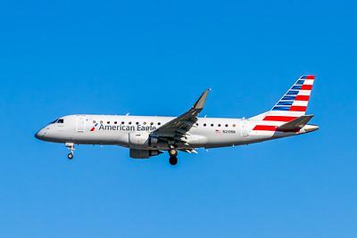 American Eagle, N210NN, ERJ-175LR (ERJ-170-200LR), msn 17000500, Photo by John A Miller, LAX, Image YA024LAJM, Operated by Compass Airlines