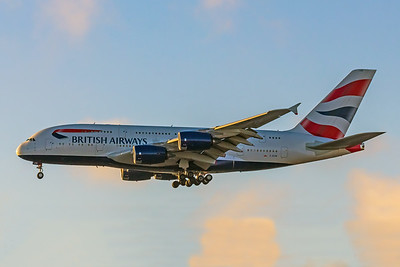 British Airways, G-XLEB, Airbus A380-841, msn 121, Photo by John A Miller, LAX, Image XA004LAJM