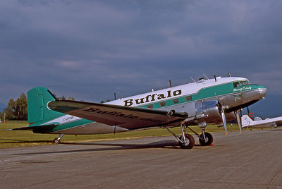 "Buffalo Airways, C-GPNR, Douglas DC-47A skytrain (DC-3), msn 13333, Photo by Dean Slaybaugh, Image A015RGDS  This aircraft was built in 1942 and is the star of the TV show called ""Ice Pilots NWT"" about likf in the Canadian North."