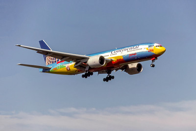 Continental Airlines, Peter Max Color Scheme, N77014, Boeing 777-224(ER), msn 29862, Photo by Photo Enrichments Collection, Image PP048RAJC, Special Paint Scheme