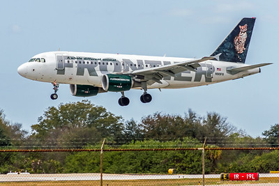 Frontier Airlines, Lance, N919FR, Airbus A319-111, msn 1980, Photo by John A Miller, TPA, Image AB064LAJM
