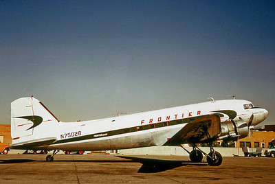 Frontier Airlines, N75028, DC-3C, msn 6053, Photo by Dean Slaybaugh, Image A012RGDS