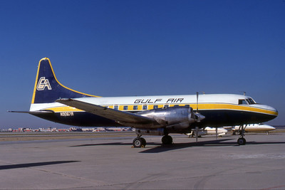 Gulf Air, N9067R, Convair CV-580, msn 160, Photo by Photo Enrichments Collection, ATL, Image CV016RGJC