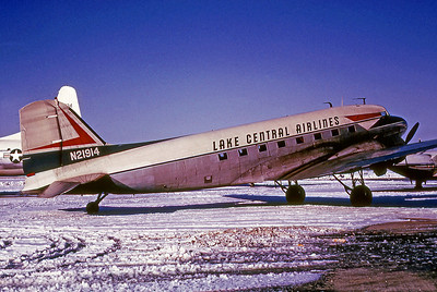 Lake Central Airlines, N21914, Douglas DC-3, msn 4965, IND, Photo from Dean Slaybaugh, Image A013RGDS  This aircraft was intended as a DC-3 for United, but finished as a C-53C, 43-2019 USAAF.  After the war if flew for American, MId-Continent and Braniff before flying for Lake Central.  It was later re-registered to N33MW.