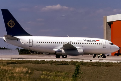 Mandala Airlines, LV-WJS, Boeing 737-2S3(ADV), msn 22278, Photo by John A Miller, TPA,  Image J139RGJM