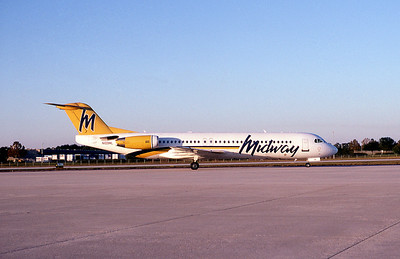 Midway Airlines, N109ML, Fokker F28-0100, msn 11485, Photo by John A. Miller, TPA, Image G011RGJM
