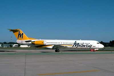 Midway Airlines, N103ML, Fokker F28-0100, msn 11444, Photo by John A. Miller, TPA, Image G012RGJM