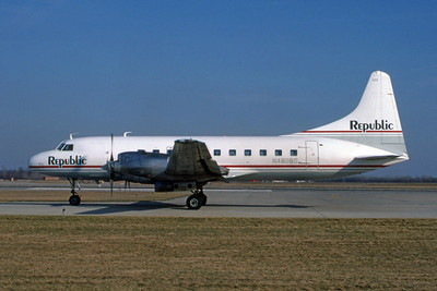 Republic Airlines, N4805C, Convair CV-580, msn 60, Photo by John Stewart, Image CV020LGJS