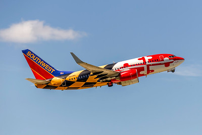 Southwest Airlines, Maryland One 90's colors, N214WN, Boeing 737-7H4(WL), msn 32486, Photo by John A Miller, TPA, Image TT178RAJM, Special Color Scheme