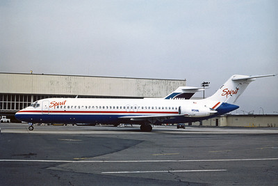 Spirit Airlines, N934ML, Douglas DC-9-32, msn 47133, Photo by Adrian J Smith, EWR, Image C044LGAS