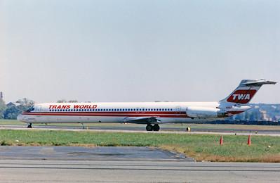 TWA, N953U, McDonnell Douglas MD-82, msn 49267, DCA, Photo by John A. Miller, DCA, Image D009LGJM