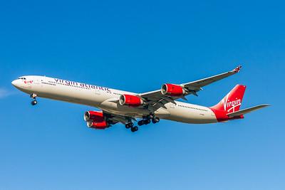 Virgin Atlantic Airlines, G-VBUG, Airbus A340-642, msn 804, Photo by John A Miller, LAX, Image XX005LAJM