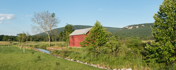 Red Barn by the Stream