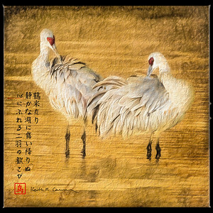 Sandhill cranes, processed to painting on papyrus