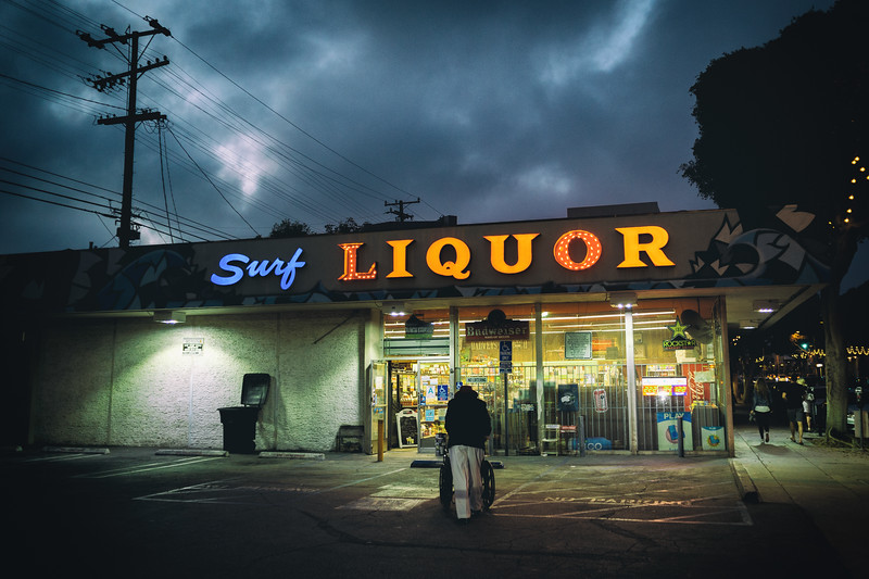 Surf Liquor is long-time business in Santa Monica. Great neon sign.