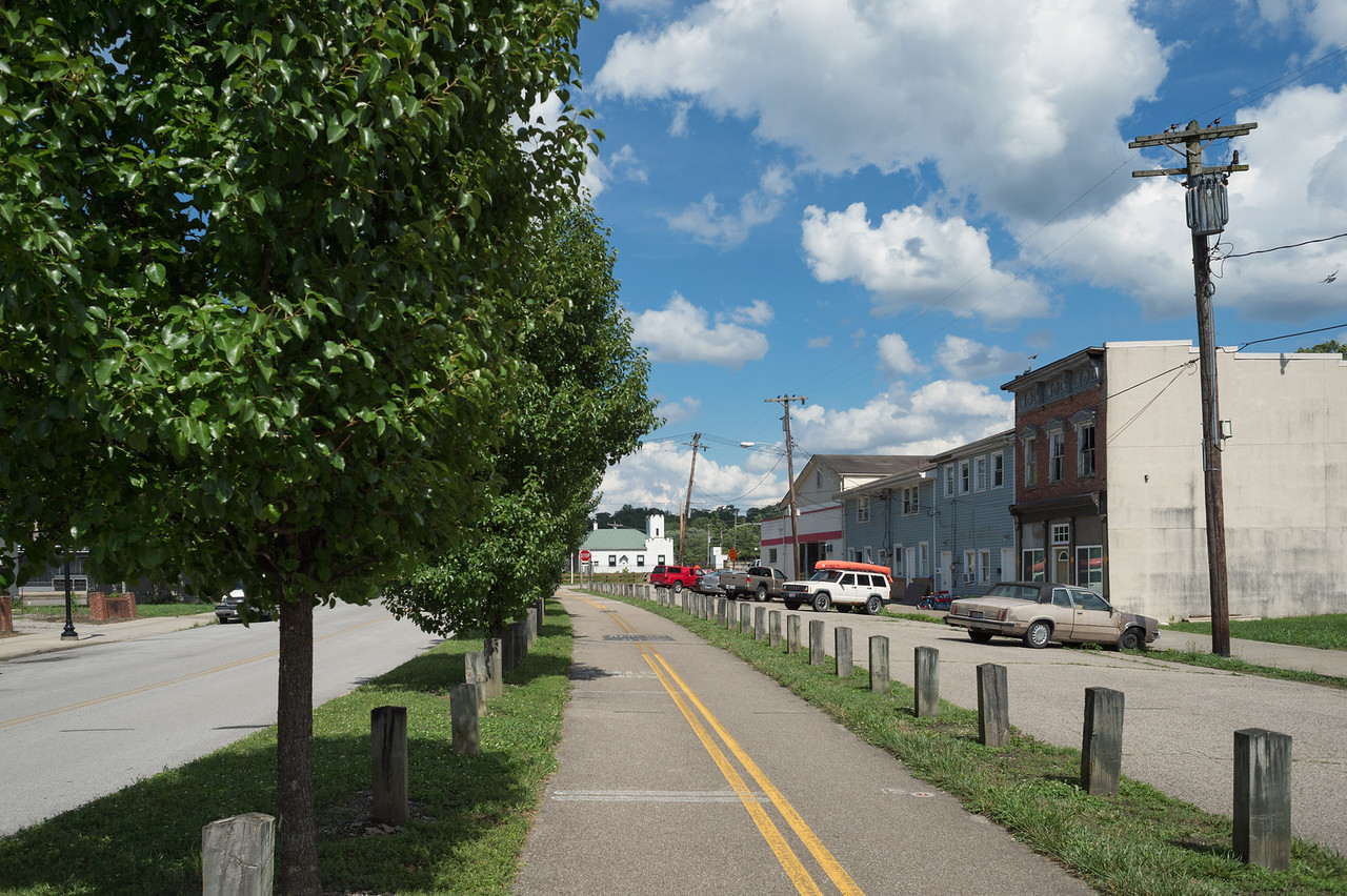 Old buildings in Morrow, Ohio, on Little Miami Scenic Bike Trail