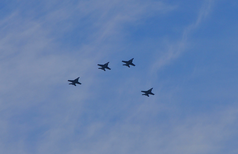 Flyover before the Rose Bowl game Jan. 1, 2011. Taken from Sam Merrill Trail above Altadena.