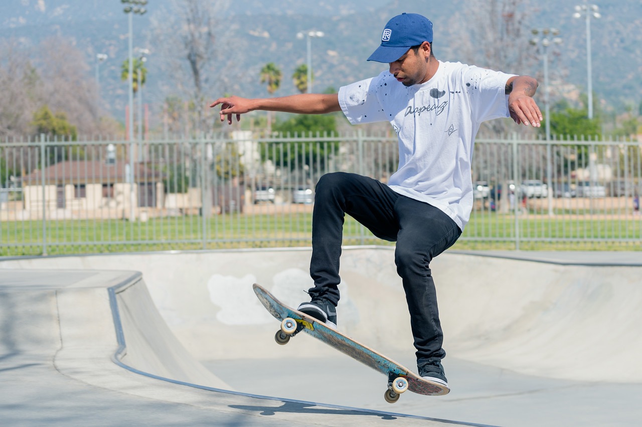 Miguel Medrano at the skate park in Duarte.