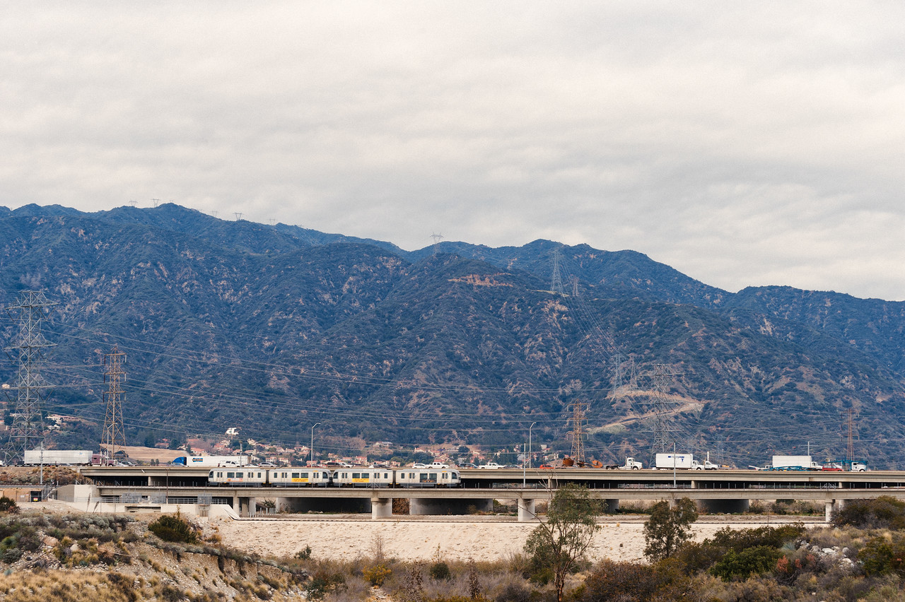 A Gold Line test train on the new bridge over the San Gabriel River in Irwindale.