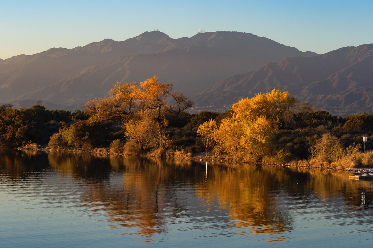 The lake and very late fall colors at the Santa Fe Dam Recreation Area in Irwindale.