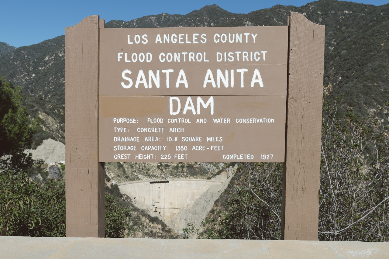 The dam sits above Arcadia and holds back water and debris from the San Gabriel Mountains.
