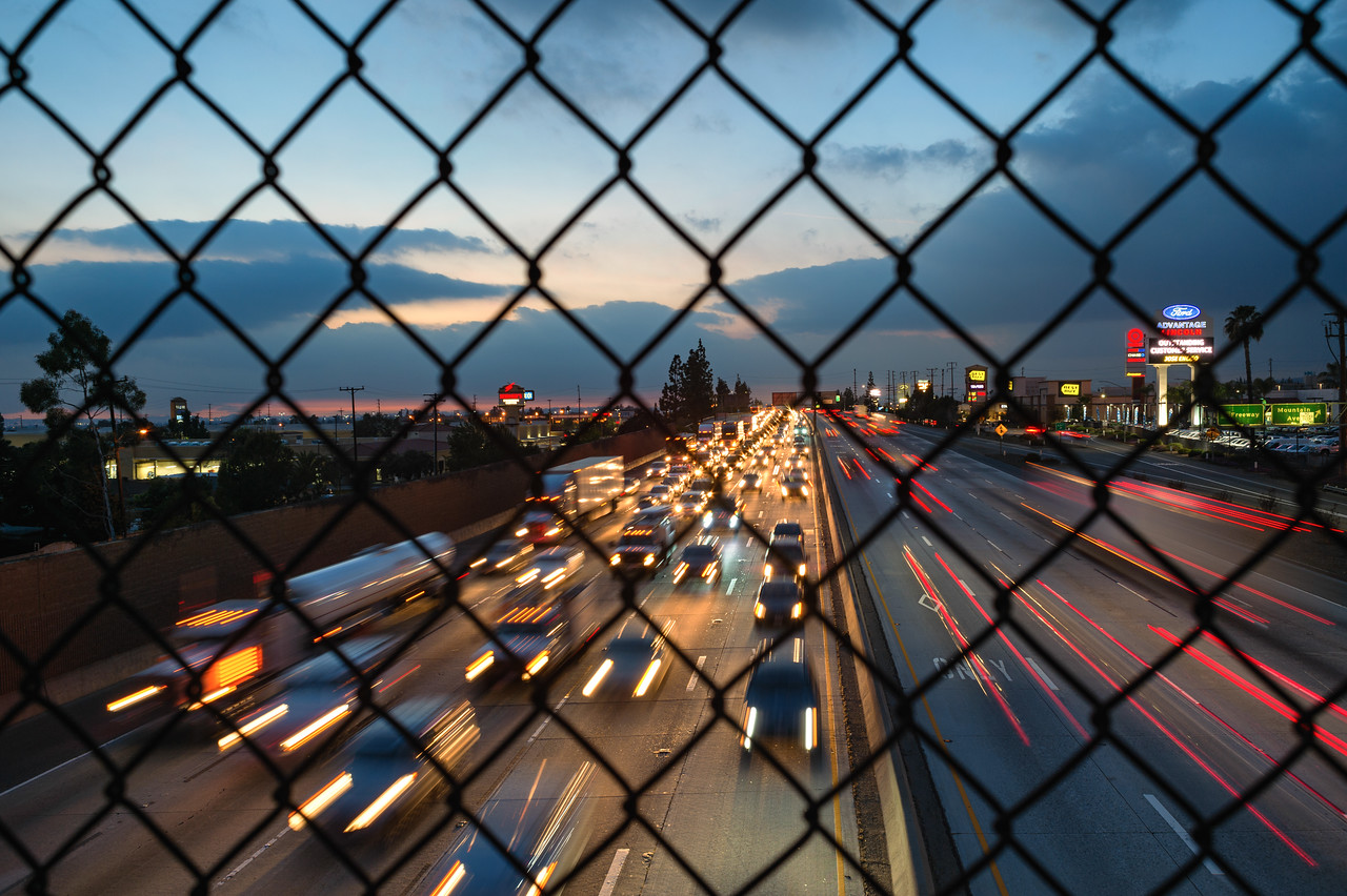 The 210 freeway at rush hour as seen from a pedestrian overpass in Duarte.