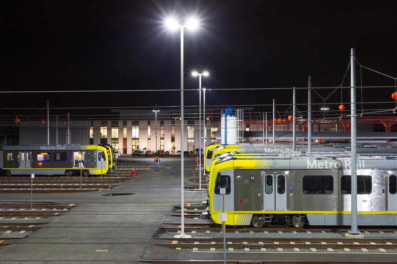 New light rail vehicles at the new rail maintenance campus in Monrovia.