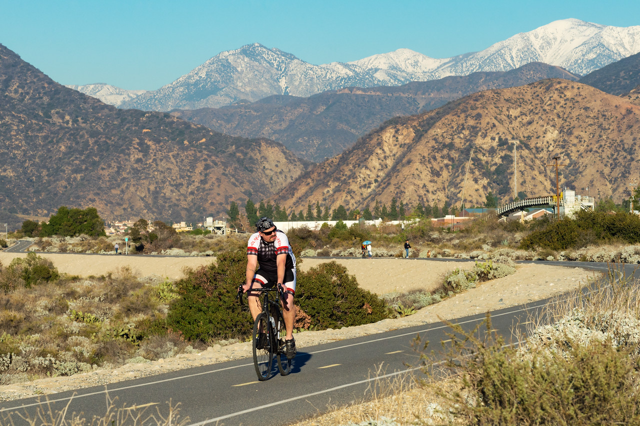 A cyclist on the popular San Gabriel Valley bike trail, which begins at the mouth of the San Gabriel Canyon in Azusa and runs all the way to Long Beach.