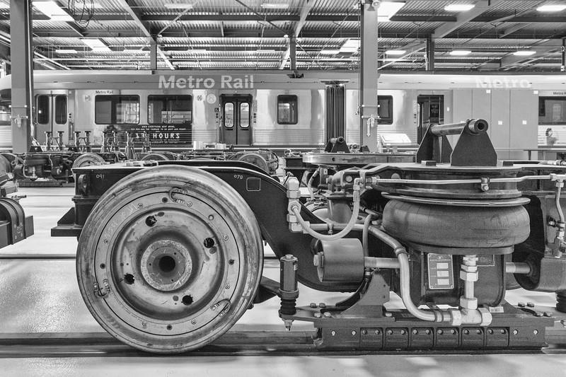 Inside the new Monrovia rail car maintenance campus in Monrovia.